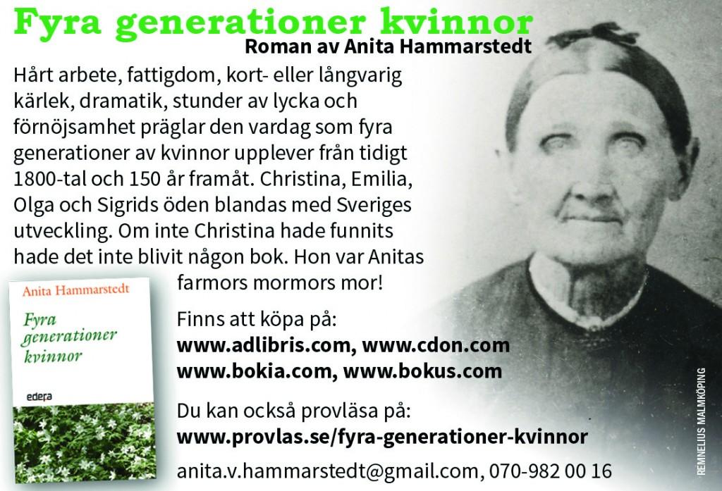 Fyra generationer kvinnor Författare Anita Hammarstedt  Recensioner